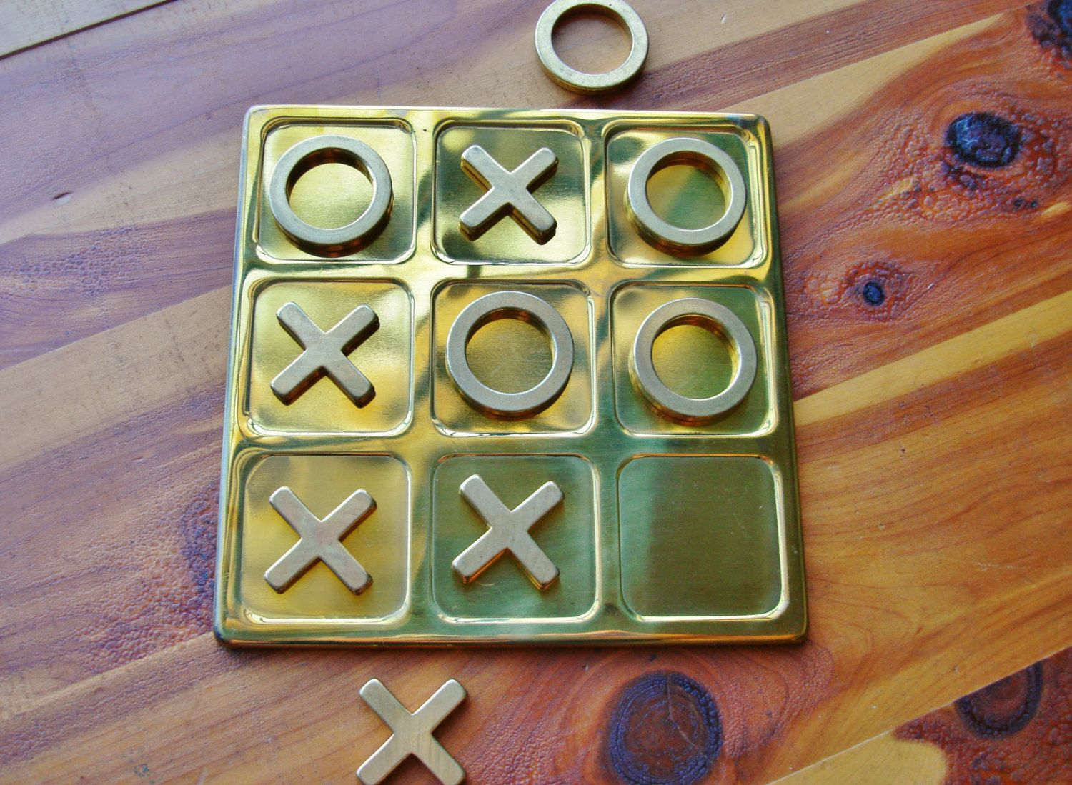 brass tic tac toe game, coffee table decor, travel game, gold