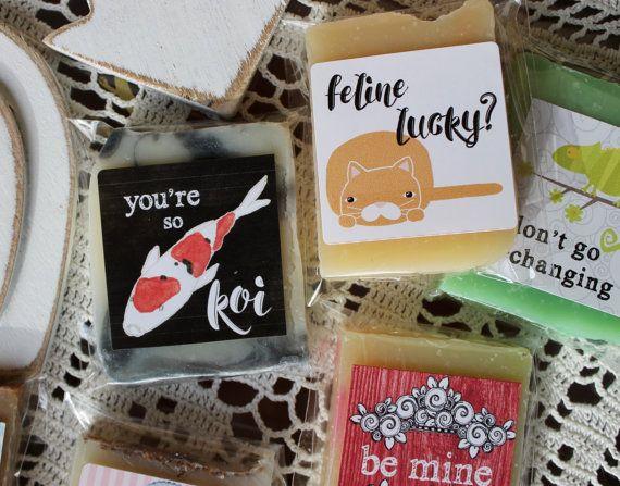 Love Soaps Valentine Set of 4 Mini Pun Soaps by daisycakessoap