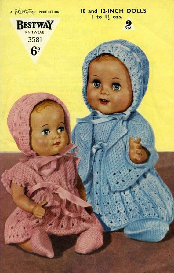PDF Vintage Doll Clothes Premature Baby Knitting Pattern 1940s ...