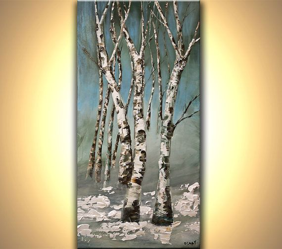"48"" x 24"" ORIGINAL Abstract Birch Trees Painting Snow Winter Landscape Painting Modern Canvas Palette Knife Painting by Osnat"
