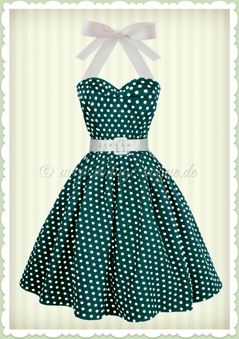 Dolly   Dotty 50er Jahre Rockabilly Punkte Kleid - Sophie - Petrol Weiß 9cf2ebce3b
