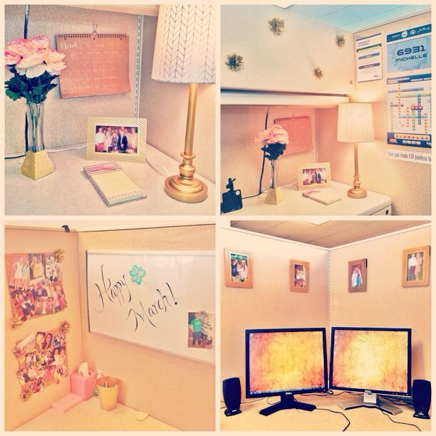 Pink and gold cubicle decor home pinterest cubicle for How to decorate desk in office