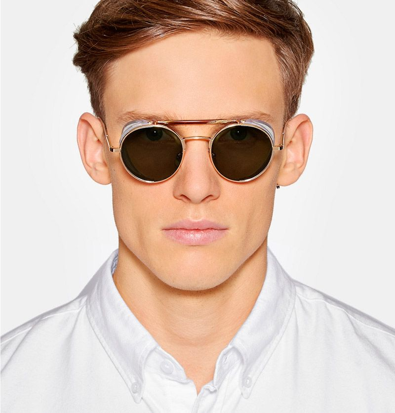 4d0cbc42fc9 THOM-BROWNE.-Round-frame-Gold-tone-Sunglasses fy2