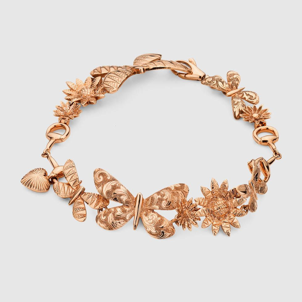 c0c4ebc3d Gucci Flora necklace in pink gold Rose Gold Charms, Rose Gold Jewelry, Heart  Jewelry