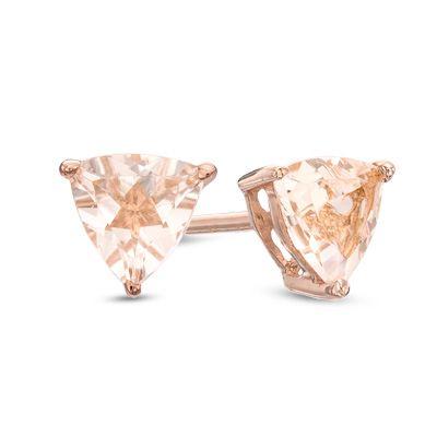 b29baf6aa 5.0mm Trillion-Cut Morganite Stud Earrings in 10K Rose Gold | Things ...