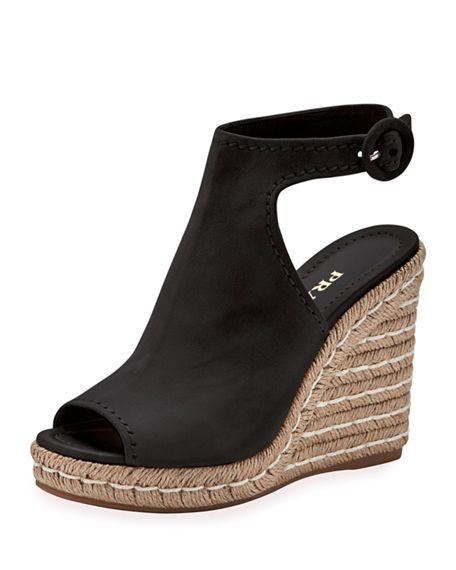 59e10d10a1d PRADA Suede 120Mm Espadrille Wedge Sandal