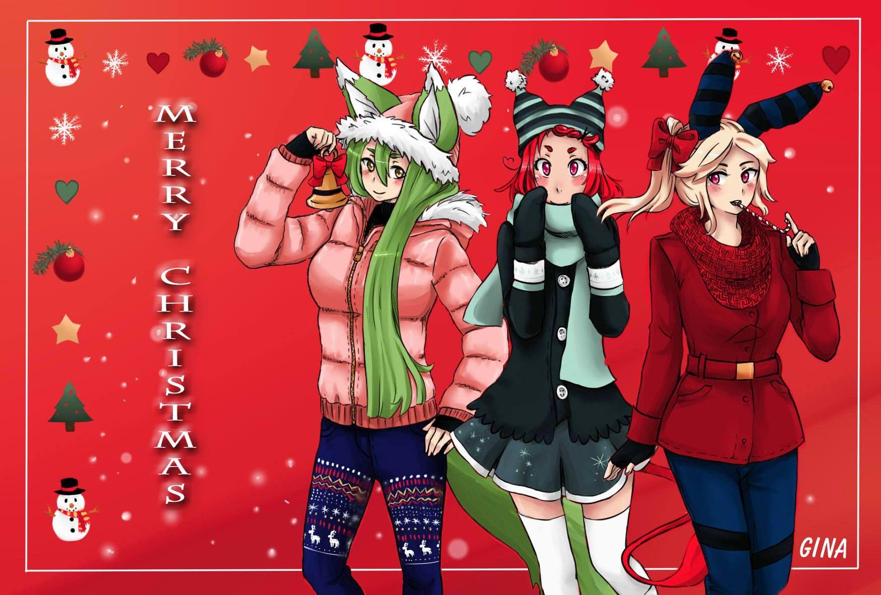 Digitale Weihnachtskarten.Eine Alte Weihnachtskarte Mit Meinen Eigenen Charakteren