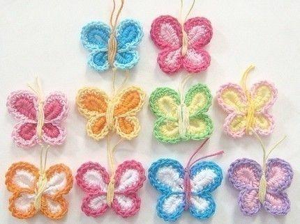 Free Crochet Animal Patterns | BUTTERFLY APPLIQUE CROCHETTE PATTERNS ...