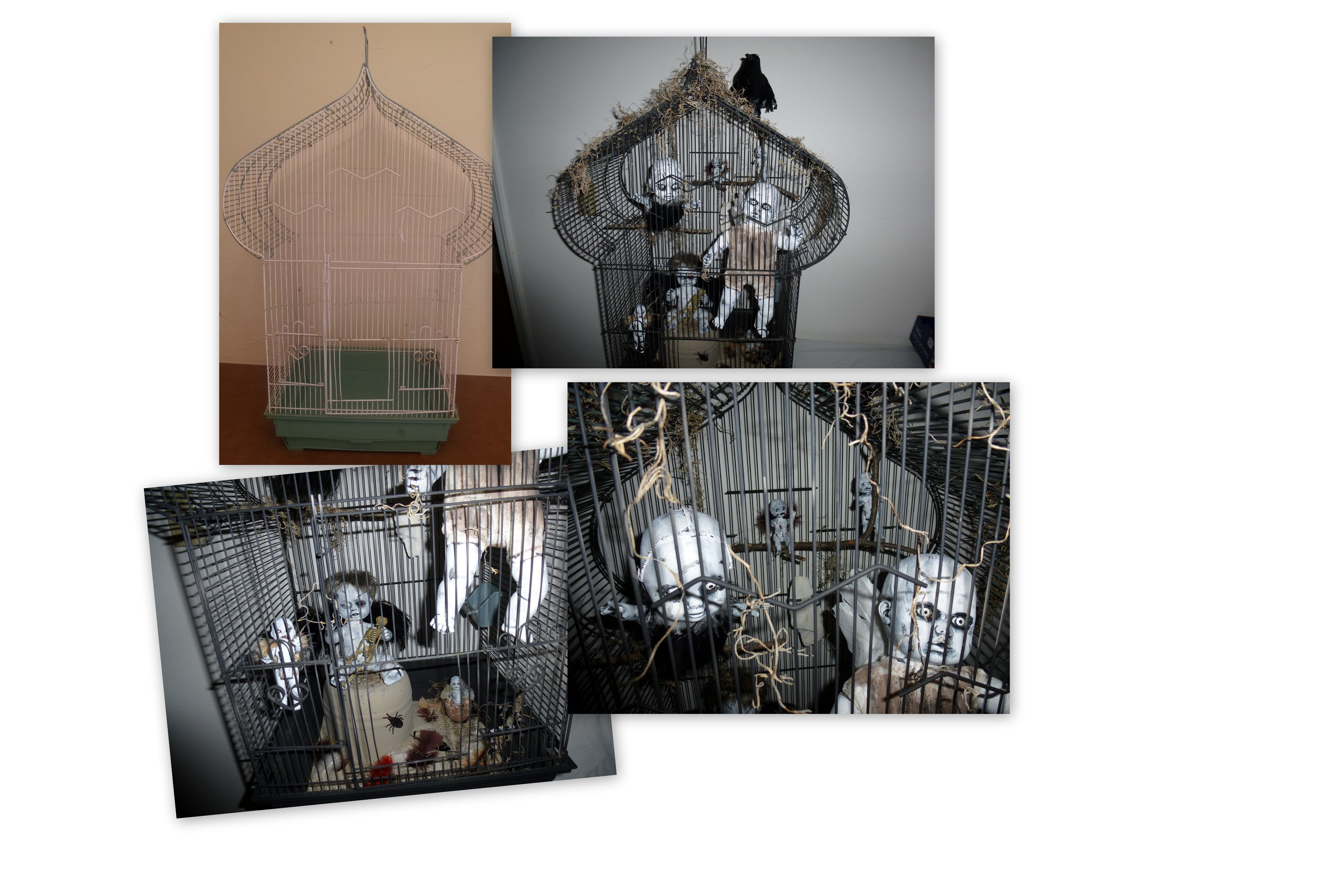 Project: Started with birdcage from flea market and took some of my zombie doll babies that I made, added feathers to them and put them in the cage