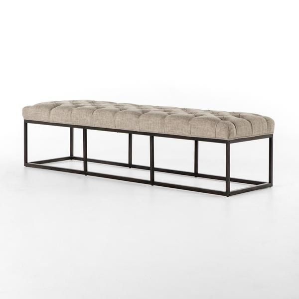 """Bring a side of French-inspired style to any space. Dramatic, oatmeal-colored tufting lends comfort and luxury to a slim iron frame in gunmetal. Perfect as an accent bench or at the end of a bed. Dimensions: W: 72"""" D: 20"""" H: 17"""""""