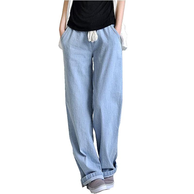 66b84a1e8c444 Plus size casual comfortable loose wide leg pants women s straight jeans  elastic waist full length trousers Free shipping