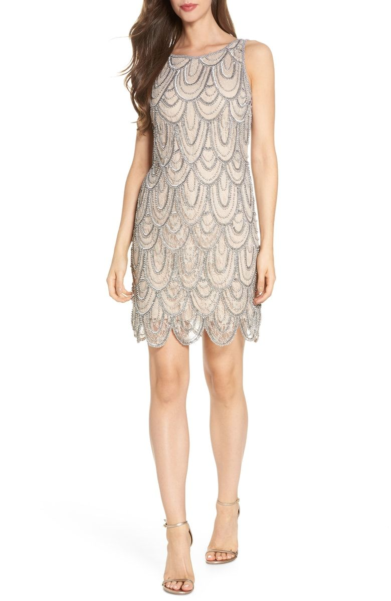 0e761ad79d07 Free shipping and returns on Pisarro Nights Beaded Lace Sheath Dress  (Regular & Petite) at Nordstrom.com. The garlands of twinkling beads across  this sleek, ...