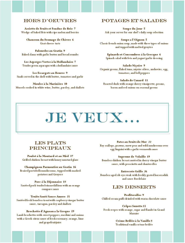 French Food Restaurant Menu