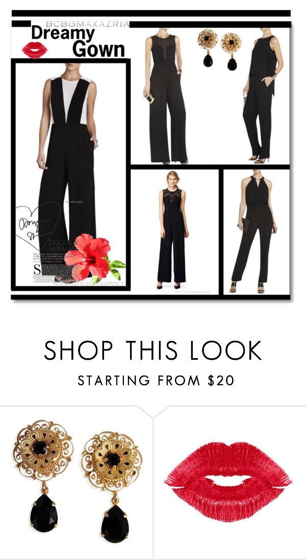 """""""Black BCBG Jumpsuit"""" by evermissjody ❤ liked on Polyvore featuring BCBGMAXAZRIA, Dolce&Gabbana and Manic Panic"""