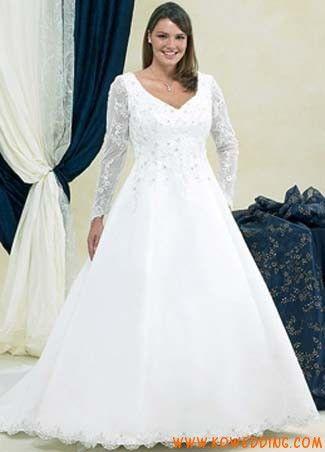 V-neck long sleeves A-line plus size winter wedding dress ...