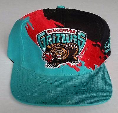 reputable site c4750 450f7 Vancouver Grizzlies Vintage Snapback Logo Athletic Splash Hat NBA Cap RARE
