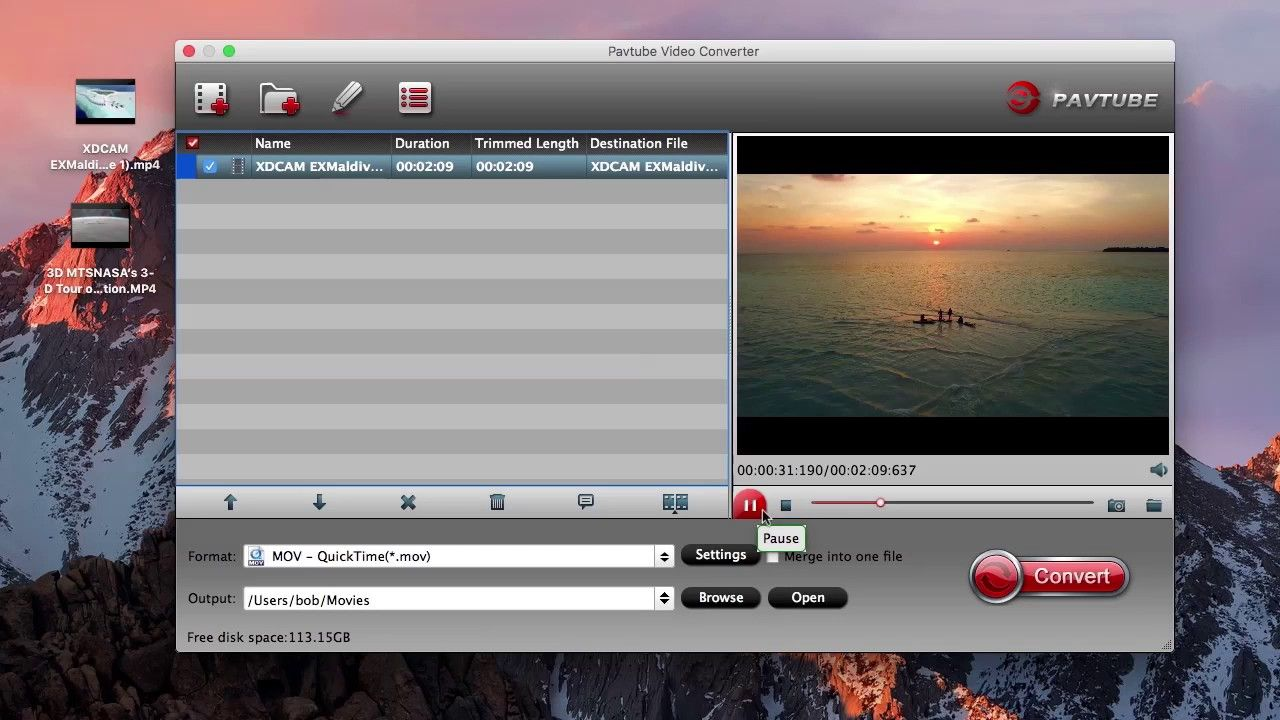 Convert and Play Sony XDCAM EX MP4 with QuickTime on Mac