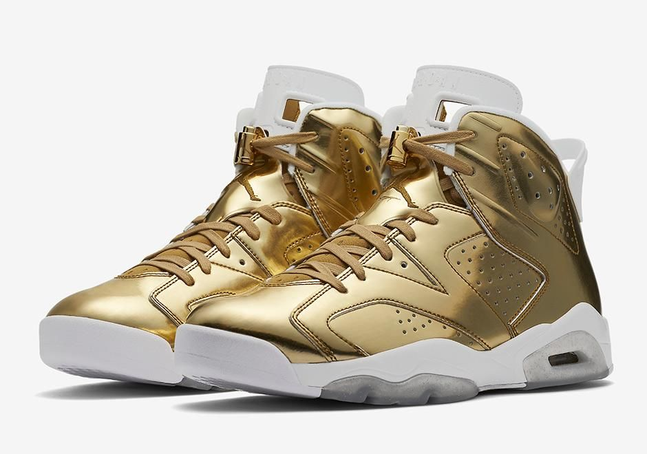 2017 Nike Air Jordan 6 Pinnacle Metallic Gold/White Sneakers 854271-730  Mens Basketball