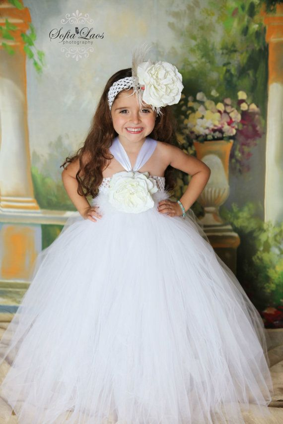 Sweet Angel White Tutu Dress with White Rose by tutuglamourous ...