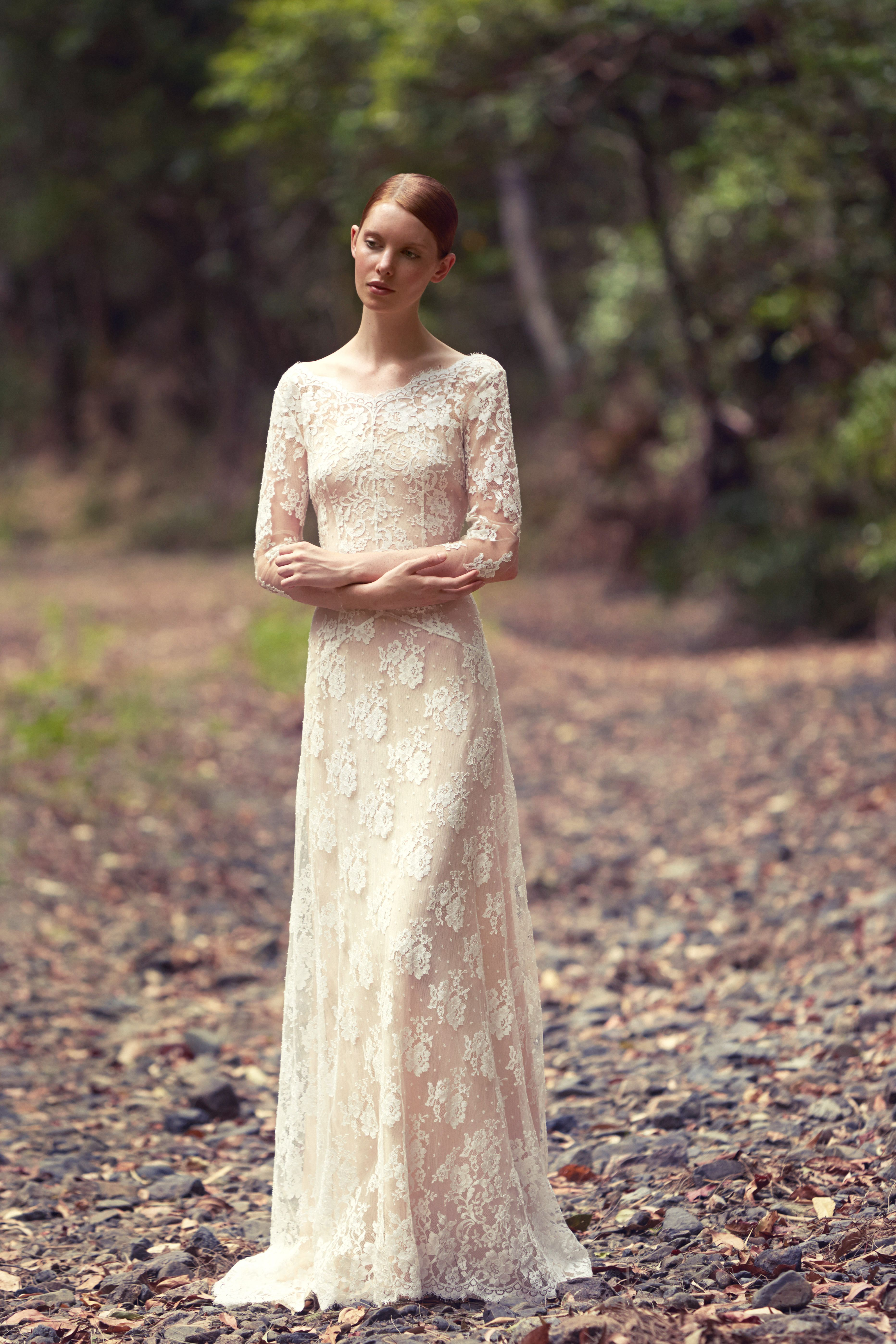 Ivory wedding dresses with sleeves  Blooms of Eden Dress by GEORGE WU French Lace gown with lace