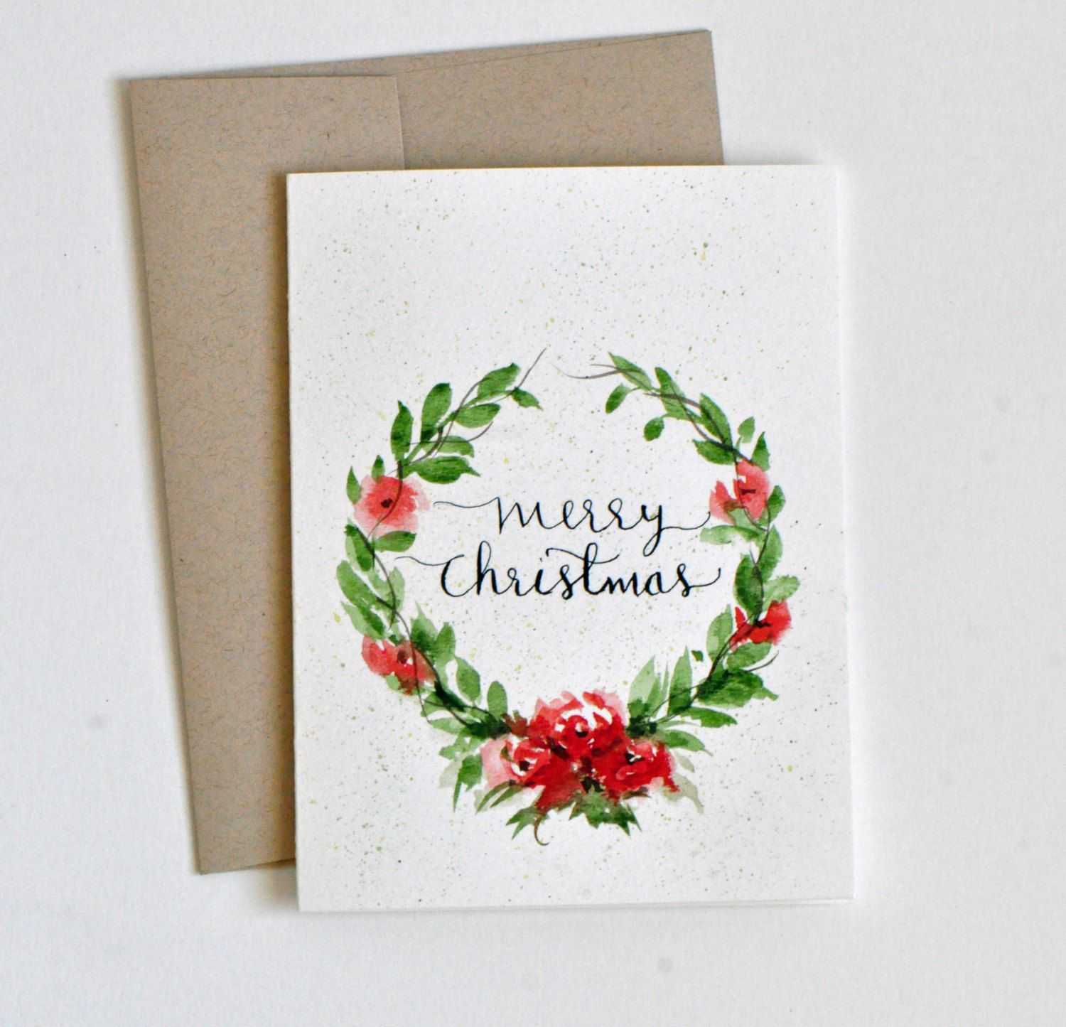 Hand Painted Watercolor Christmas Card Watercolor Flowers Wreath