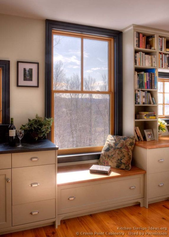 Low Kitchen Window Seat / Wood Windows, Painted Trim