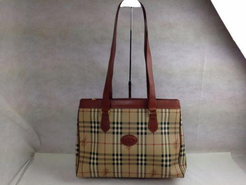 Auth-BURBERRY-Nova-Check-PVC-Canvas-Leather-Tote-Shoulder-Bag-5F161710 156618e0e5b60