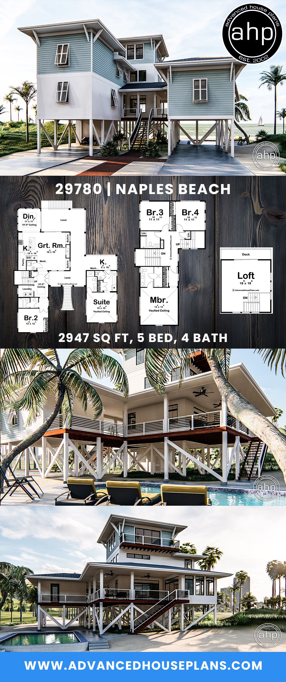 Coastal Beach House Plan Naples Beach Beach House Plans Coastal House Plans Beach House Plan