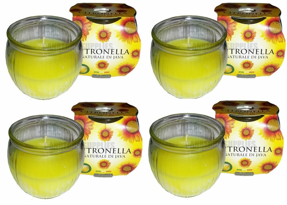 30 Hour Burn Time 4 x Prices Citronella Glass Jar Garden Candles