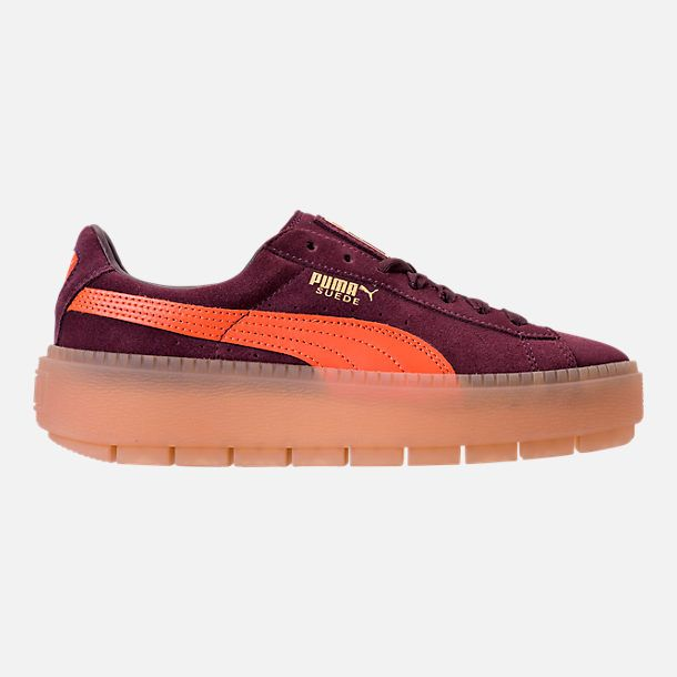 Right view of Women s Puma Suede Platform Rugged Casual Shoes in Wine  Tasting - Flame c5778c438