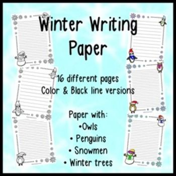 Lines Paper Winter Themed Writing Paper  Writing Paper Winter And School