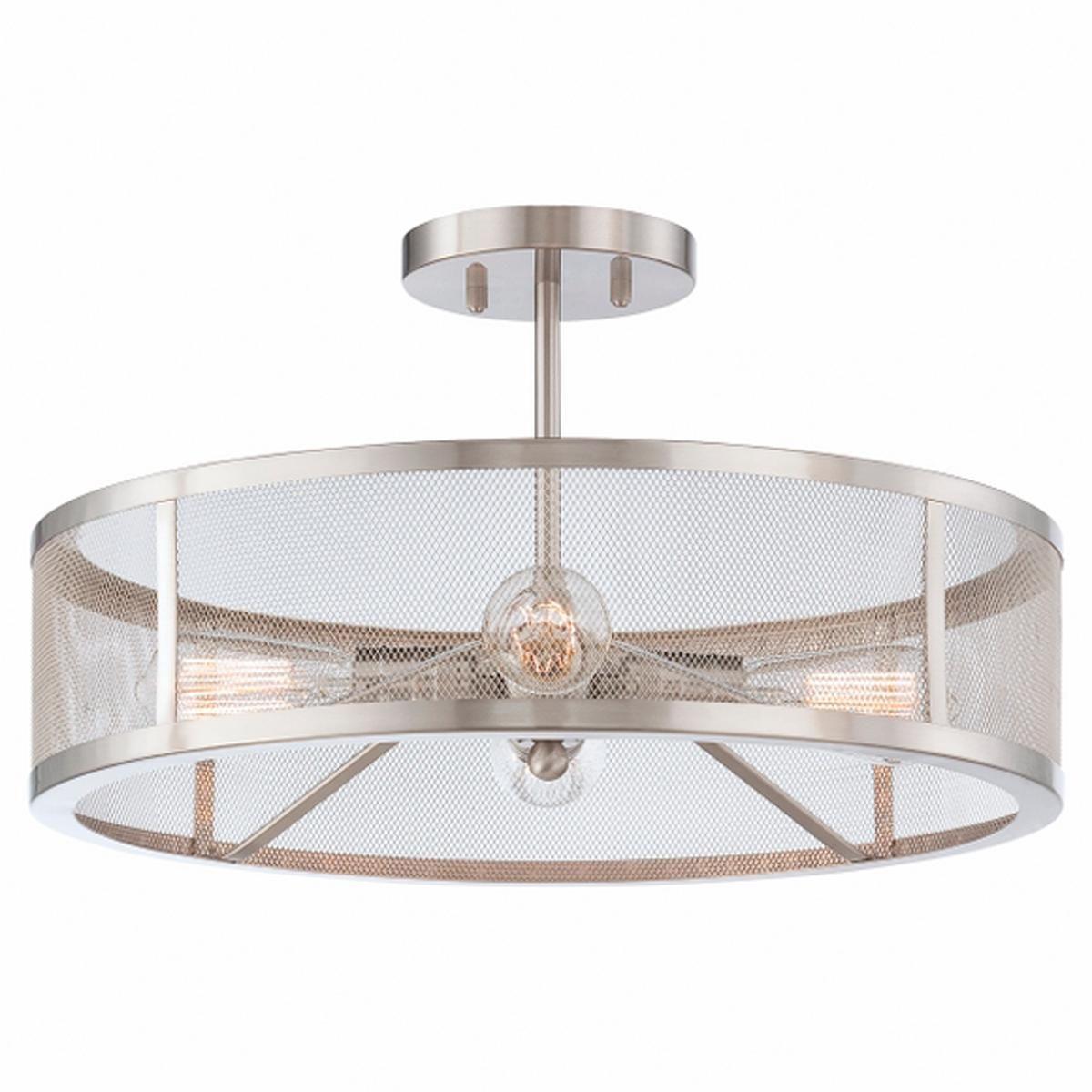 Mesh industrial semi flush mount ceiling light flush mount mudroom mesh industrial semi flush mount ceiling light brushed nickel 290 11h x 19w aloadofball Gallery