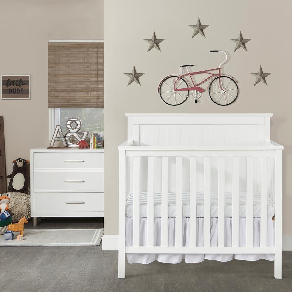 Dream On Me Ava 4 In 1 Convertible Mini Crib White In 2020 Mini Crib Cribs Day Bed Frame