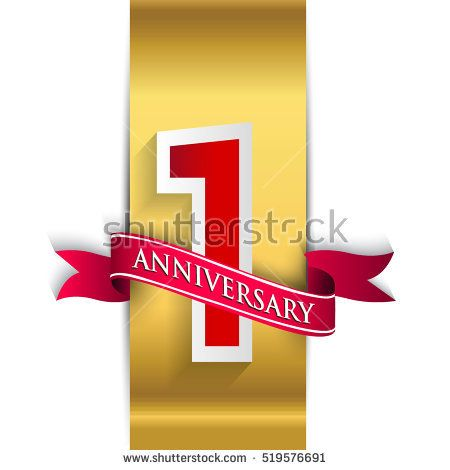 1st anniversary logo with golden label with red ribbon vector design template elements for your birthday anniversary logo one year anniversary 1st anniversary 1st anniversary logo with golden label