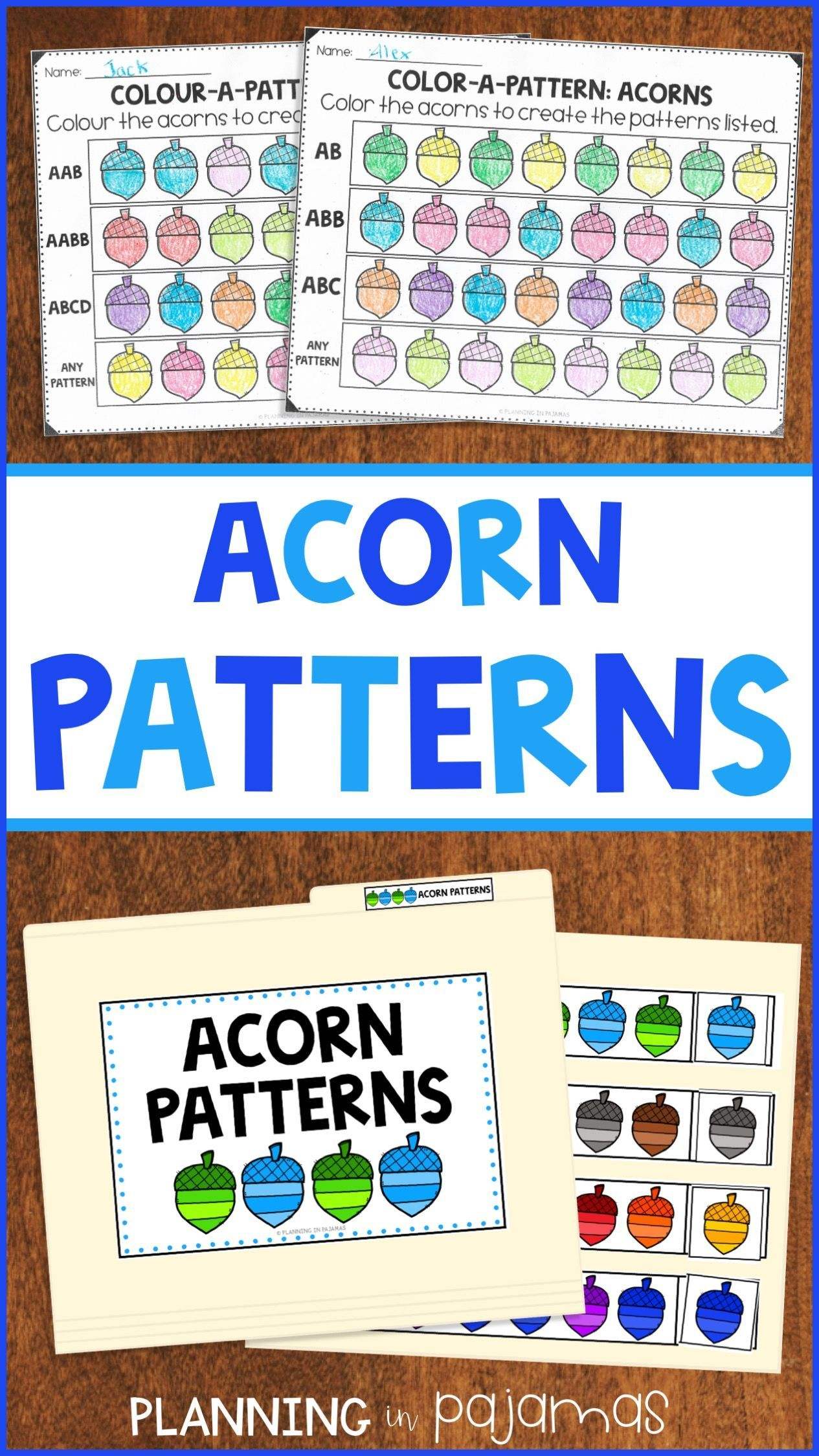 Acorn Patterns Worksheets File Folder Game