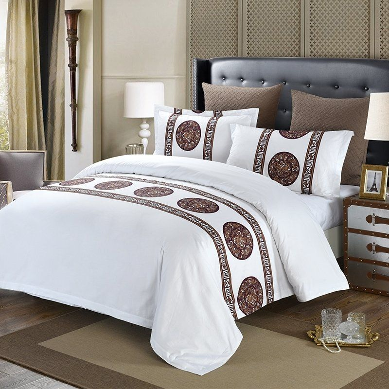 White and Coffee Polka Dot and Striped Print Luxury Hotel