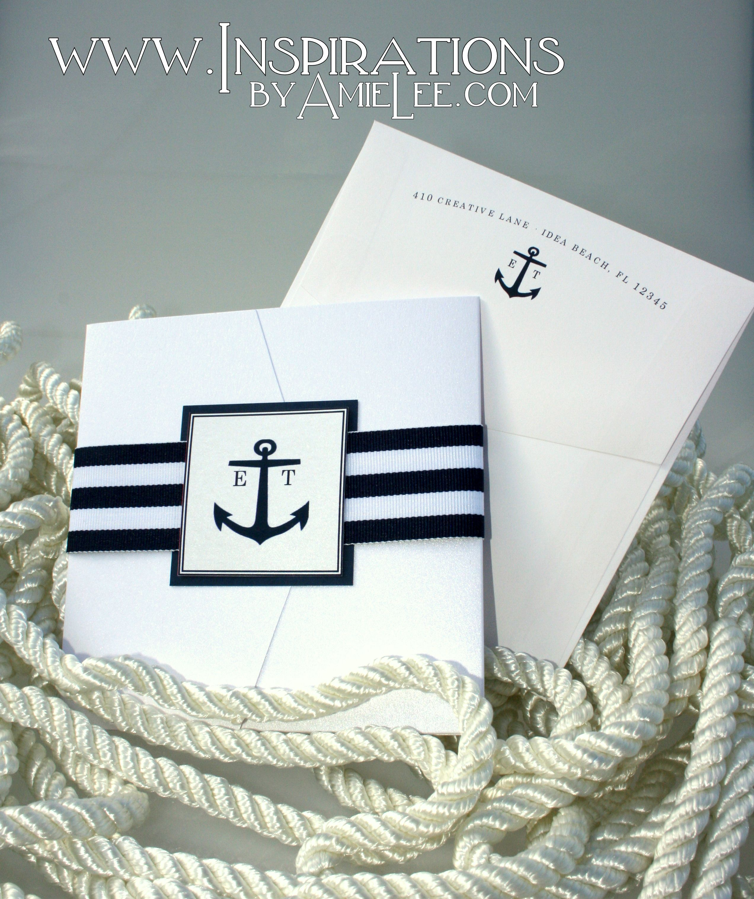 Nautical sunset invitations with ribbon bands.