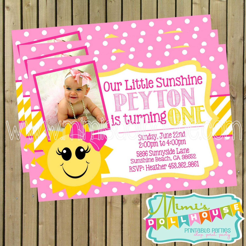 Sunshine Party Invitation Printable You are my by MimisDollhouse, $12.99