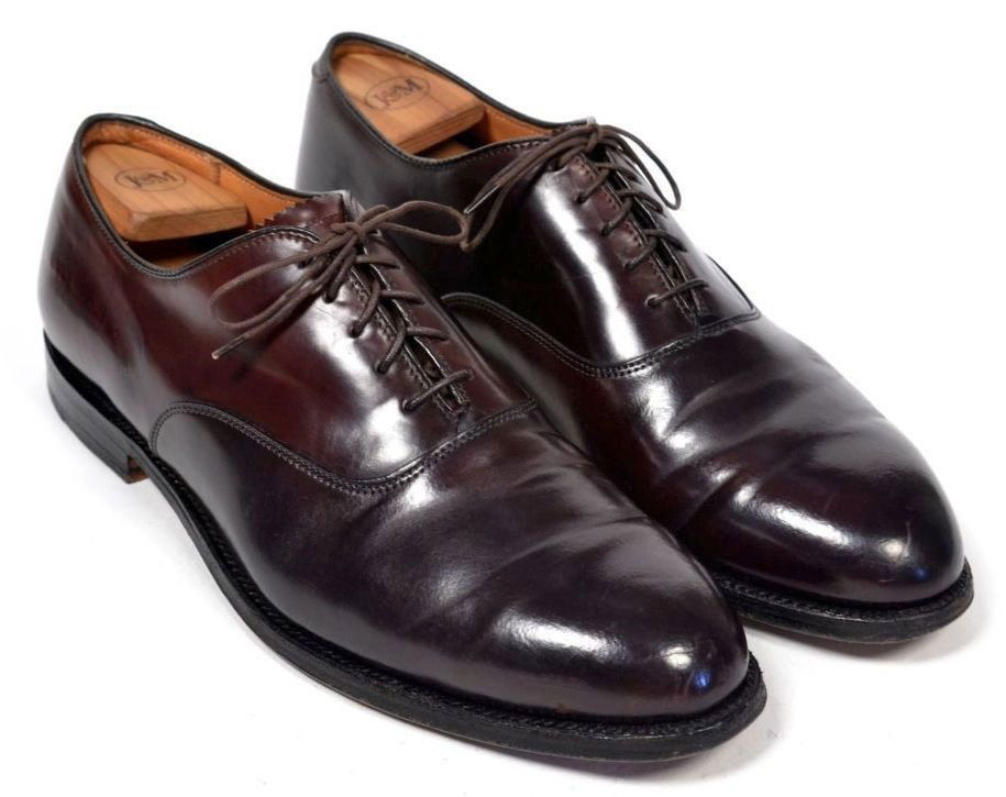 ALDEN for BROOKS BROTHERS Maroon #8 SHELL CORDOVAN Plain Toe Oxford Shoes -  11 C