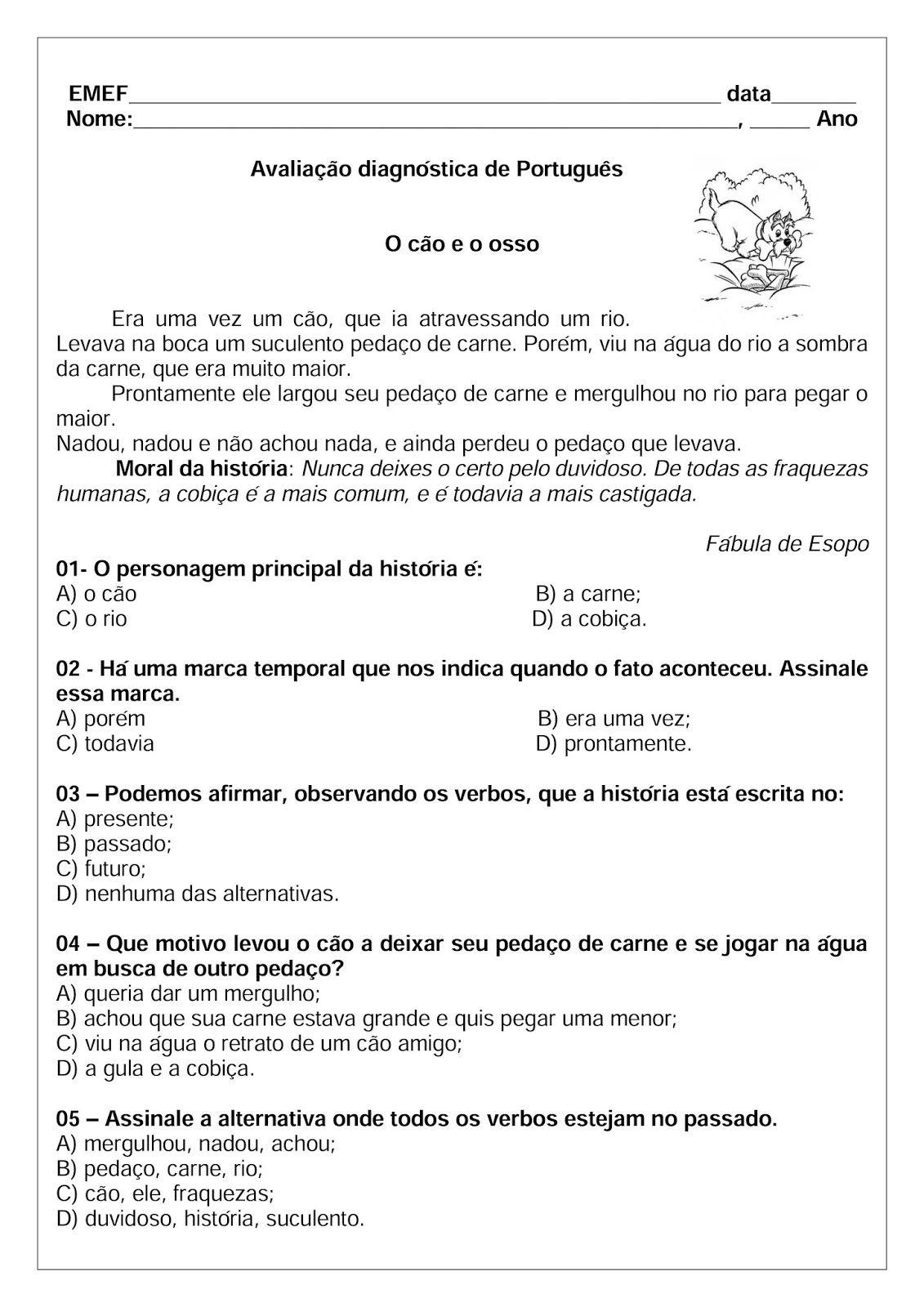 Avaliacao Diagnostica 4º Bimestre Ciencias Historia Geografia