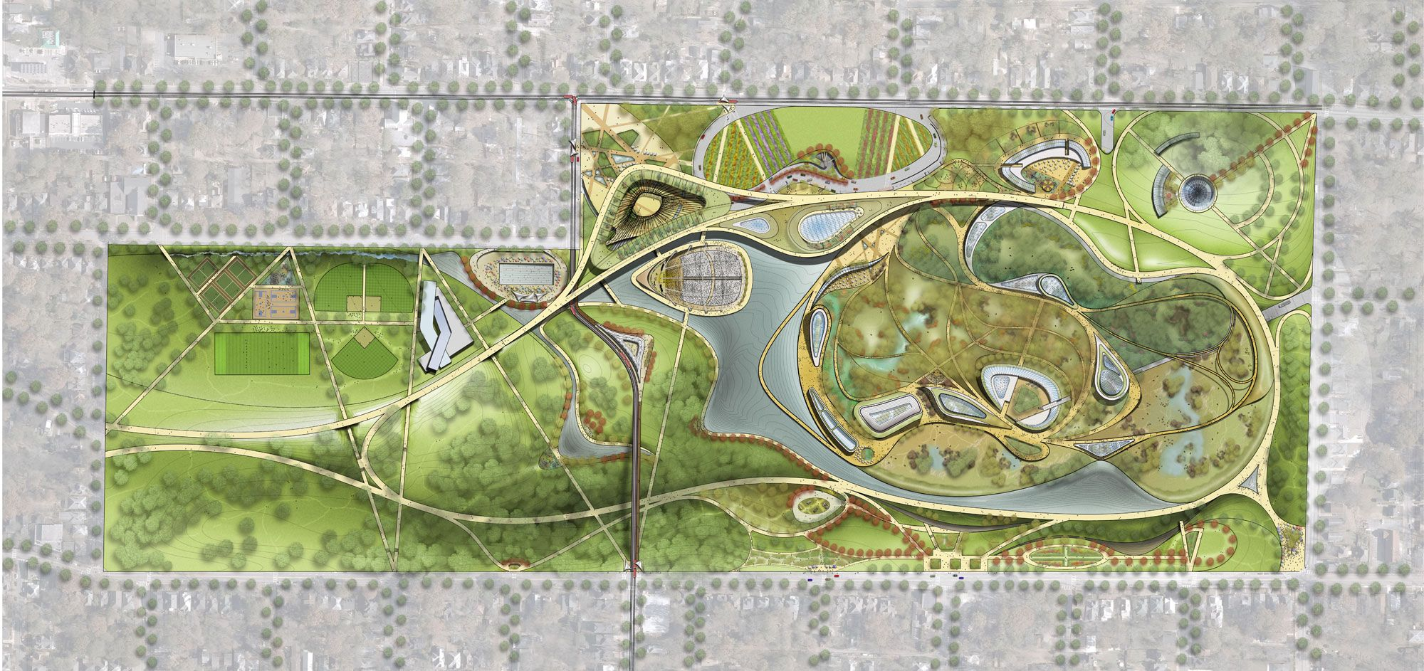 Grant park and zoo atlanta masterplan landscape plans for Park landscape design