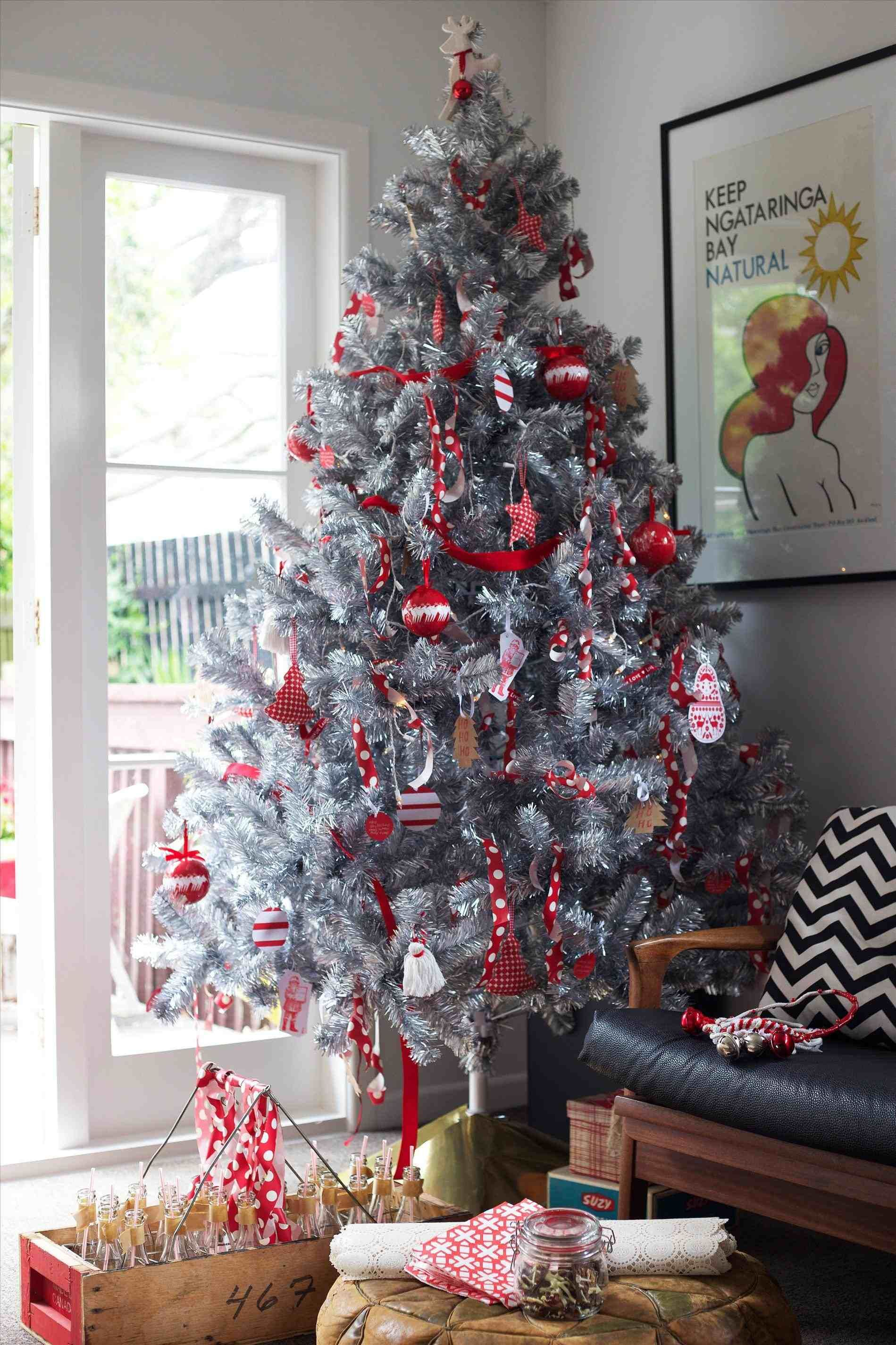 Home Decor Ideas New Post Red Silver Christmas Tree Interesting