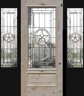 Texas Star Door 2 Sidelight Leaded Glass Bevel Window Custom Glass
