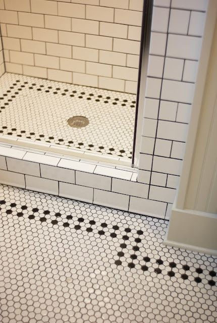 Black And White Hex Tile Traditional Bathroom Patterned