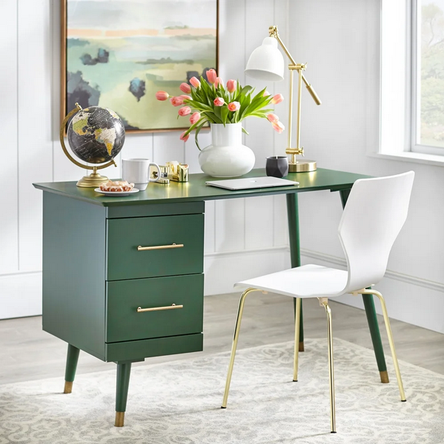 Angelo Home Desk Leon Green In 2020 Mid Century Desk