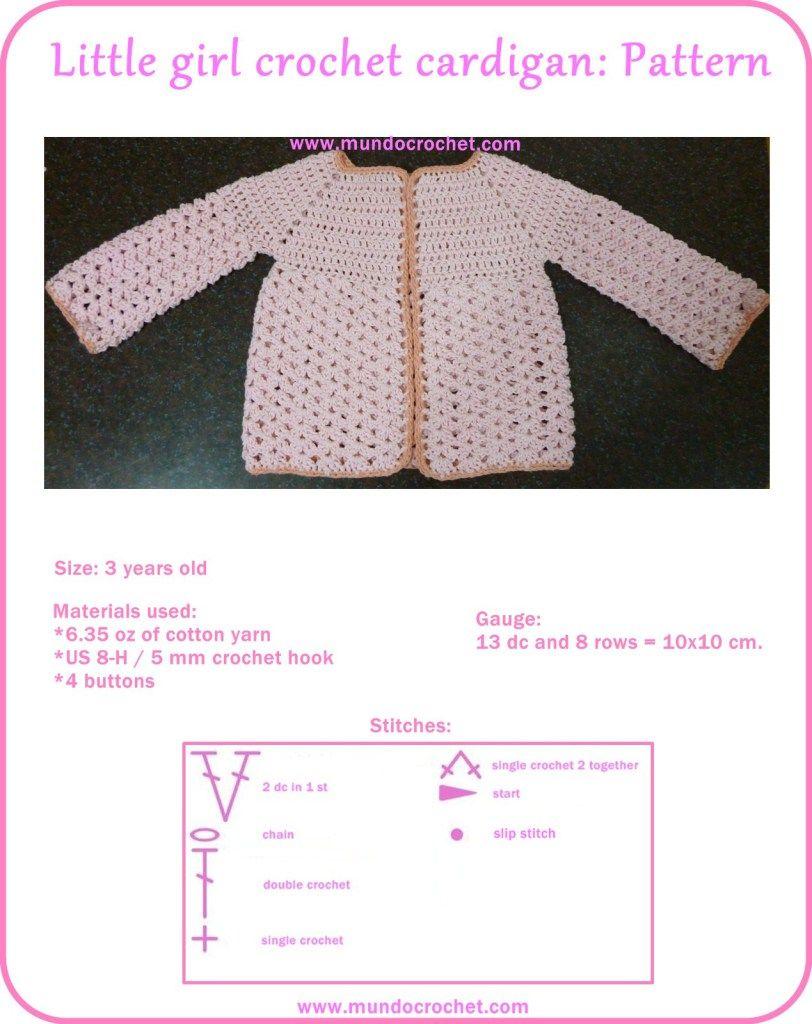Little girl crochet cardigan | Crochet baby clothes #1 | Pinterest