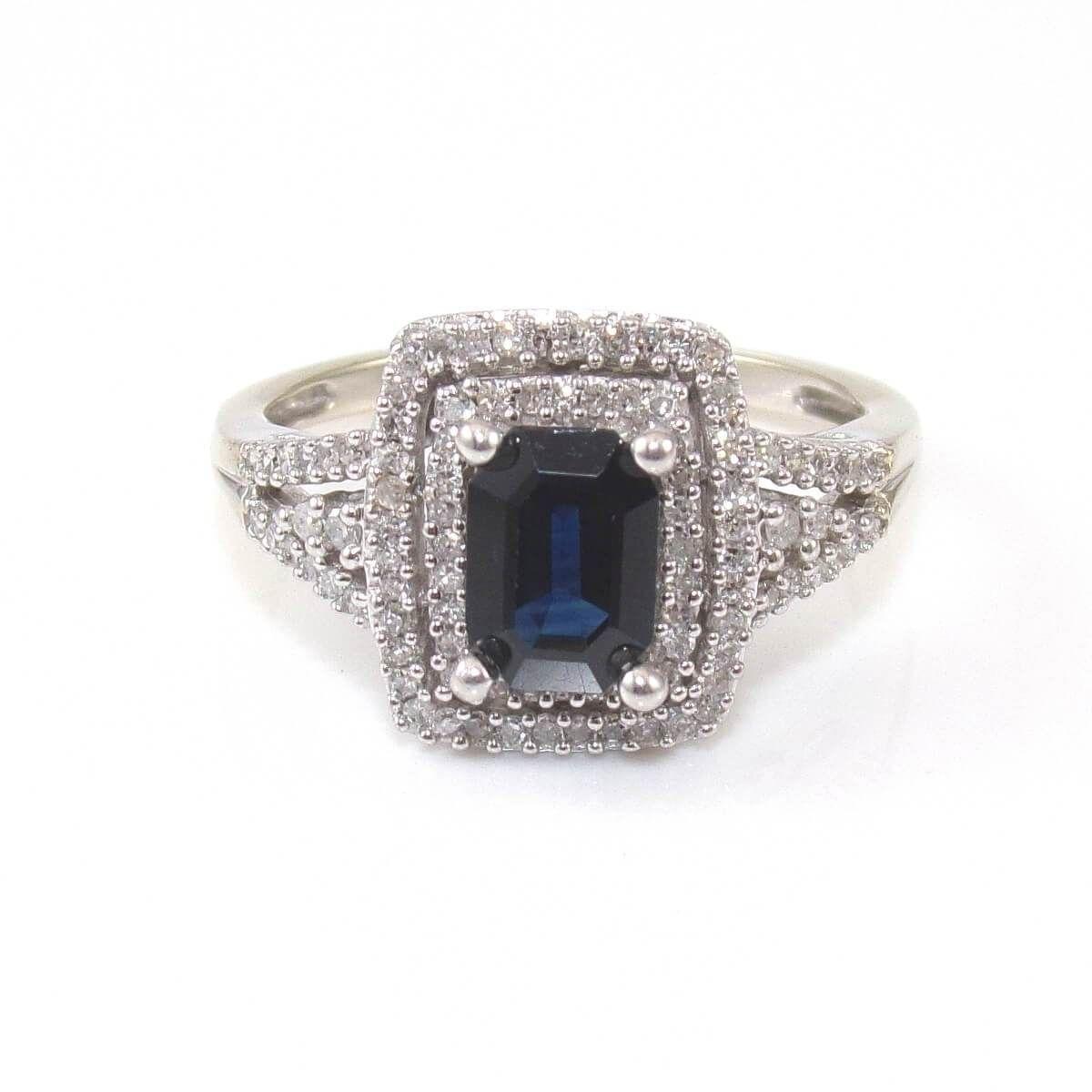 Alwand Vahan 14k White Gold Blue Sapphire Diamond Accent Halo Ring Size 7 25 Blue Sapphire Diamond Rings Ring Size