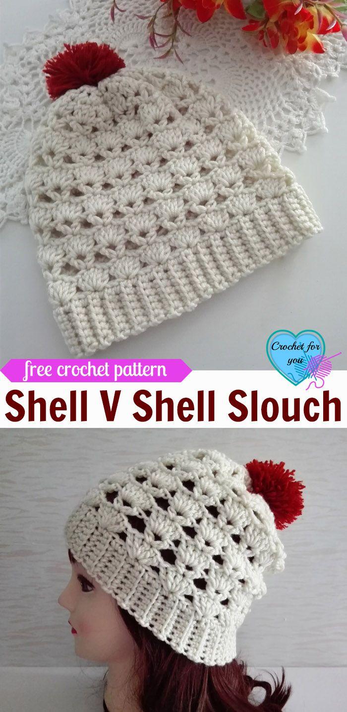 Shell V Shell Crochet Slouch Free Pattern | Gorros, Tejido y Gorro ...