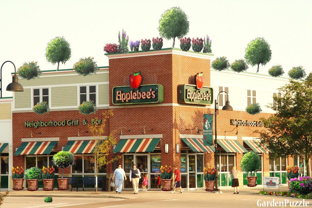 Here is the first garden plaza / storefront garden design we did.  Applebees garden storefront display.  Not to bad of an idea!
