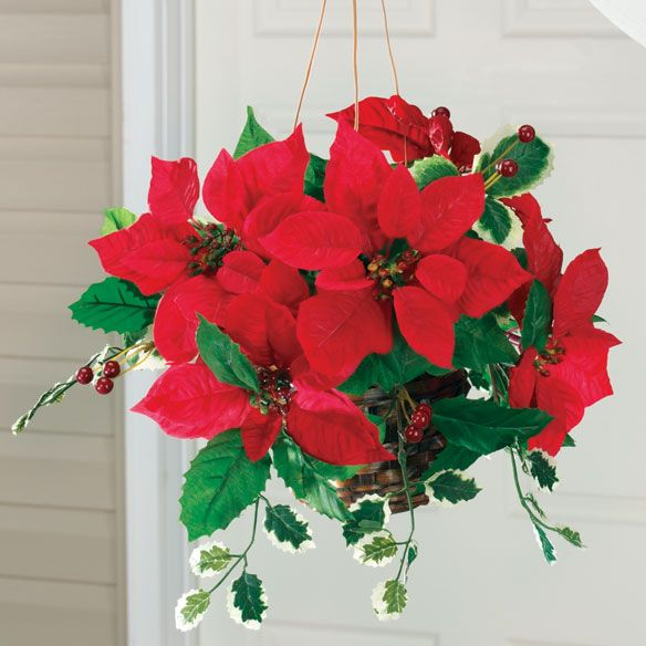 Flash Sale Christmas Hanging Baskets Winter Hanging Baskets Poinsettia Decor
